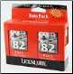Lexmark # 82 TPANZ05 Ink Cartridges Hi-Res Twin Pack